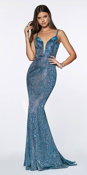 Cinderella Divine KC871 Fitted Long Metallic Gown Blue Deep Plunge Keyhole Back