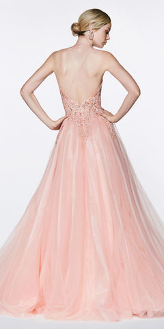 Cinderella Divine KV1037 Long A-Line Tulle Prom Gown Blush Lace Beaded Bodice Criss Cross Back