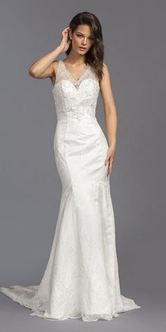 Illusion V-Neck Long Mermaid Wedding Dress Off White