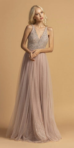 Bead-Sequins Embellished Long Prom Dress Mauve