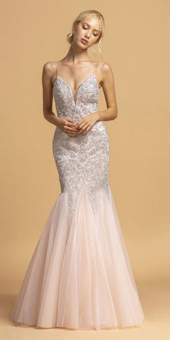 Champagne Long Prom Dress with Spaghetti Straps