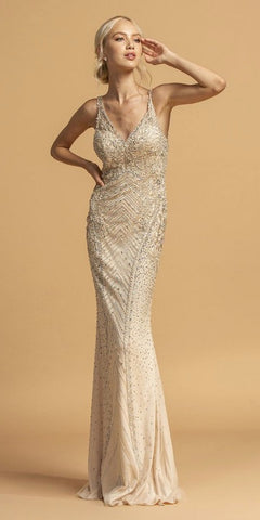 Champagne Embellished Long Prom Dress Sleeveless