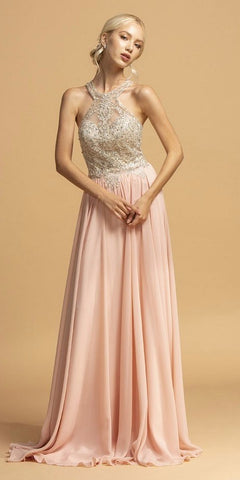 Halter Blush Long Prom Dress with Cut-Out Back