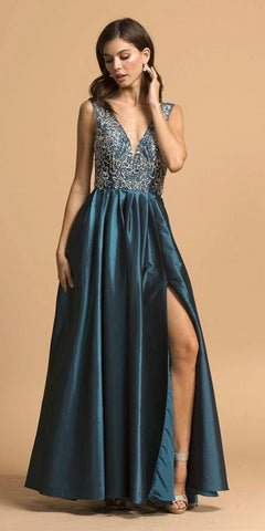 Cut-Out Back Sleeveless Long Prom Dress with Slit Teal
