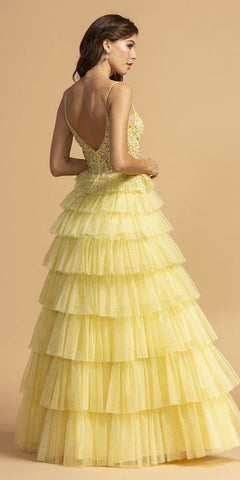 Tiered Lemon Appliqued Long Prom Dress with Spaghetti Straps