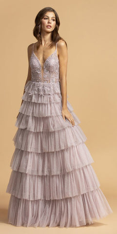 Tiered Mauve Appliqued Long Prom Dress with Spaghetti Straps