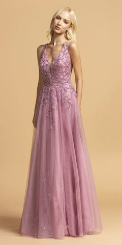 V-Neck and Back Misty Lilac Beaded Long Prom Dress