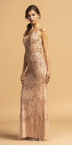 V-Neck Beaded Embellished Long Prom Dress Rose Gold