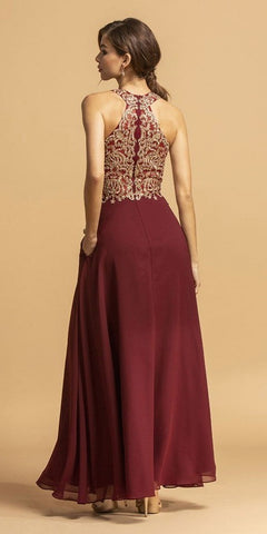 Burgundy/Gold Halter A-Line Long Prom Dress with Pockets
