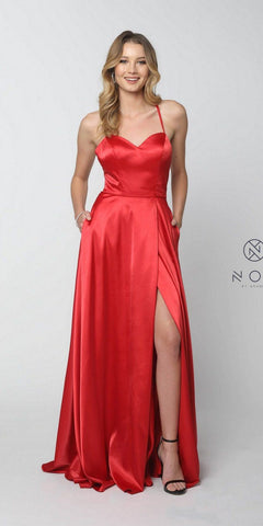 Red Long Prom Dress Corset Open-Back with Pockets and Slit