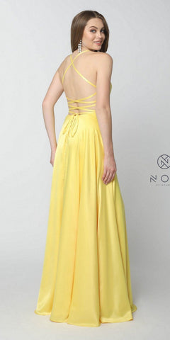 Yellow Long Prom Dress Corset Open-Back with Pockets and Slit