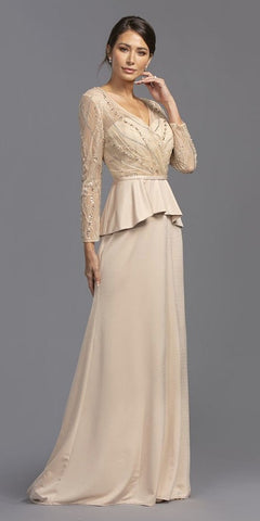 Illusion Beaded Peplum Style Long Formal Dress Champagne