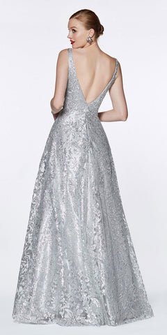 Cinderella Divine ML929 Floor Length A-Line Glitter Ball Gown Silver Floral Print Open Back