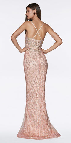 Cinderella Divine ML934 Floor Length Fitted Glitter Prom Gown Rose Gold