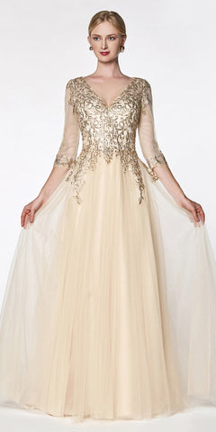 Cinderella Divine OC003 Flowy A-Line Tulle Gown Champagne 3/4 Length Sleeve