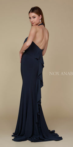 Nox Anabel Q132 Halter Ruffled Long Prom Dress Open Back with Train Ink Back View