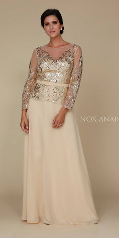 Sequins Embellished Bodice Long Sleeve Formal Dress Gold