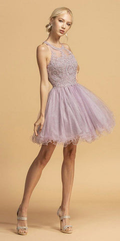 Halter Short Homecoming Dress with Metallic Appliques Mauve