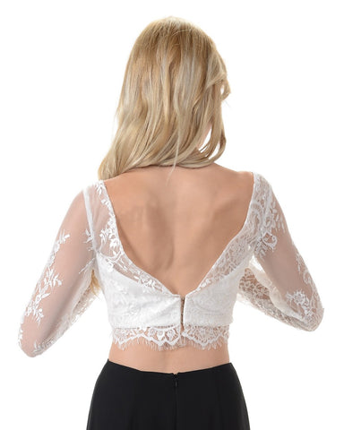 Poly USA T17 - Off White Lace Crop Top With Long Sleeves Back View
