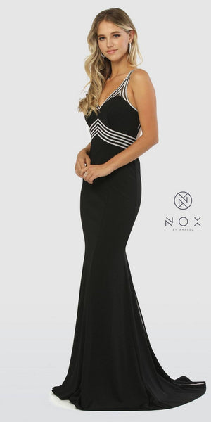 Black V-Neck Fit and Flare Long Prom Dress Cut-Out Back