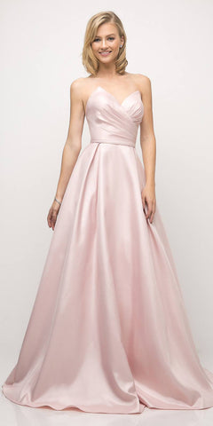 Cinderella Divine UE008 Long Strapless Ball Gown Rose Pink Pointed Sweetheart Pleated Bodice