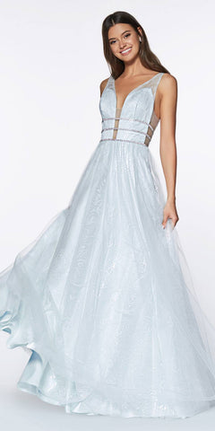 Cinderella Divine UE011 Long A Line Prom Gown Side Cut Outs Open Back Powder Blue