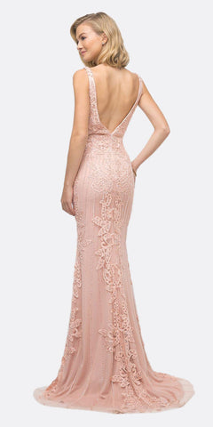 Cinderella Divine UK013 Long Dusty Rose Fitted Gown Applique Lace Embellished Details