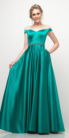 Cinderella Divine UT257 Off The Shoulder Satin Ball Gown Emerald Beaded Belt And Pockets