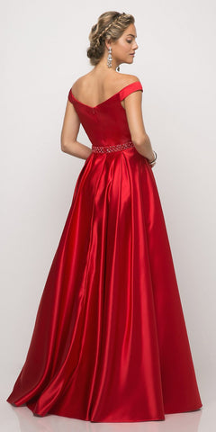 Cinderella Divine UT257 Off The Shoulder Satin Ball Gown Red Beaded Belt And Pockets