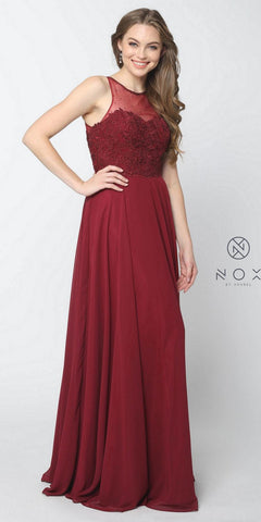 Burgundy Illusion Appliqued Bodice A-line Long Formal Dress