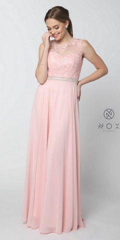Nox Anabel Y101 Blush A-line Long Formal Dress Lace Bodice Keyhole Back