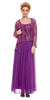 Chiffon Plus Size Mother of Bride Dress Violet/Gold Includes Jacket