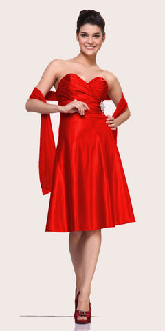 CLEARANCE - Strapless Red Dress Knee Length Sweetheart Brooch Satin Gown