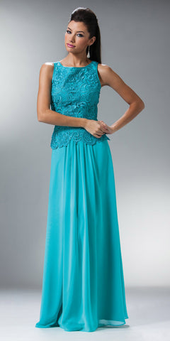 Cinderella Divine 1453 Sleeveless Long Aqua Mother of Bride Dress Lace