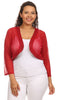 Red Sheer Bolero Jacket Chiffon 3/4 Length Sleeve Bolero