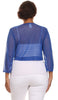 Royal Blue Sheer Bolero Jacket Chiffon 3/4 Length Sleeve Bolero Back