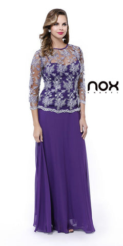 Plus Size Illusion Neck Formal Dress Plum/Silver Long Sleeve