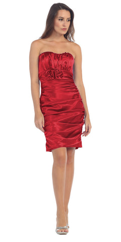 Red Charmeuse Strapless Sweetheart Cocktail Dress Rosette