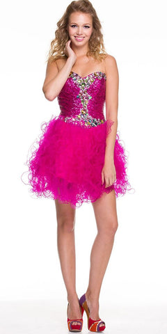 ON SPECIAL - LIMITED STOCK - Short Sequin Fuchsia Formal Dress Strapless Jeweled Tulle Skirt