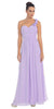 One Shoulder Ruched Lilac Long A Line Semi Formal Gown