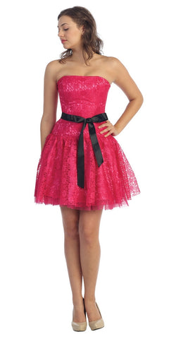 Poofy Short Lace Fuchsia Semi Formal Dress Ribbon Belt Strapless