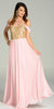Full Length Chiffon Spanish Style Pink Gold Dress Off Shoulder Lace Applique