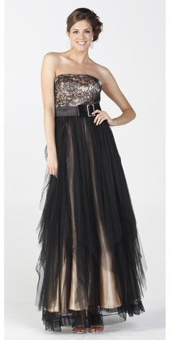 ON SPECIAL LIMITED STOCK - Long Black/Champagne Gala Dinner Party Dress Formal Lace Design Top