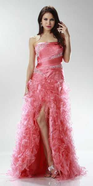 ON SPECIAL LIMITED STOCK - Long Coral Special Occasion Dress Strapless Shiny Organza Layered