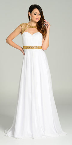 V-Neck and Back Plus Size White Long Prom Dress with Pockets