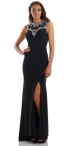 ON SPECIAL LIMITED STOCK - Long Sleeveless ITY Formal Gown Black Sexy Front Slit