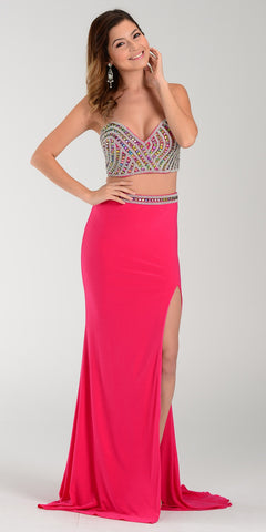 ON SPECIAL LIMITED STOCK - Poly USA 7318 Sexy Slit Long Prom Dress Fuchsia Strapless