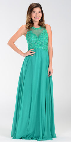Poly USA 7454 Long Flowy Prom Gown Green Empire Sheer Bodice