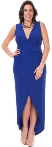 Royal Blue Plus Size Dress High Low Deep V Neck Tulip Skirt