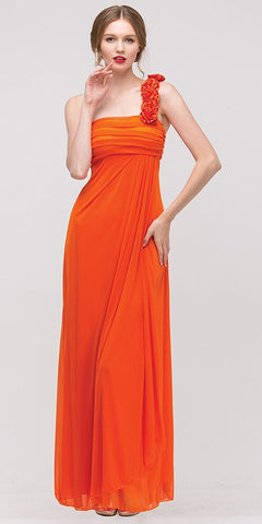 Rosette Strapped One Shoulder Long Orange Column Dress